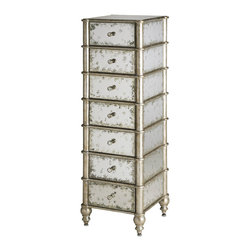 Kathy Kuo Home - Harlow Hollywood Regency Antique Mirror 7 Drawer Lingerie Chest - This seven drawer chest fits in a small narrow space and adds a decorative touch to the storage function.  The antiqued mirror is accented with a silver leafed bamboo trim.