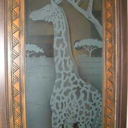 Somali Giraffe Glass Door - Glass Doors, Glass Door Inserts and Entry Glass custom designed by Sans Soucie Art Glass.  Etched, Frosted & 3D Carved Glass.