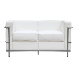 Lemoderno - Fine Mod Imports  Cube Lc2 Petit Loveseat, White - Cushions covering in genuine leather ther front, sides and back, with a polished stainless steel frame. Polished Stainless Steel Frame    Assembled