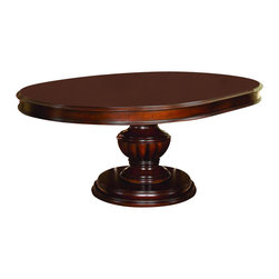 Homelegance - Prenzo Round Dining Table - You'll be impressed by the intricate details of this fabulous cherry finish dining table. Round top features a fancy-face veneer surface with an attractive sunburst pattern. Massive urn-shaped fluted base creates a stable foundation for the thick top complete with extension leaf. Lustrous classic cherry finish is ideal for any traditional home.