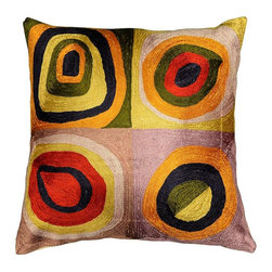 "Modern Silk - Kandinsky Pillow Cover Quadrate Colors I Hand Embroidered 18"" x 18"" - Kandinsky believed that art could visually express music, and is credited for painting the first modern abstractions. He was immensely inspired by the radiantly colorful and fanciful churches and homes of Russia. In ""Farbstudie Quadrate,"" color and rhythm make beautiful music together and the artisans of Kashmir have crafted this beautiful decorative pillow cover from this abstraction. This cover could grace the cabin of your boat or the chair in your solarium and yet be equally as comfortable in your den."