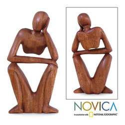 Novica - 'Thinking of You' Wood Sculpture (Indonesia) - Bali's vast creativity results in an abstract sculpture deep in thought Decorative accessory features surprising contours and open spaces Statue is presented by Made Wirata, celebrating the power of the mind