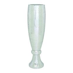 Benzara - Vase Gleaming Mosaic Mirror Silver Home Garden Accent Decor 50132 - Polystone vase with tall slender design in gleaming mosaic mirror silver finish home garden accent decor