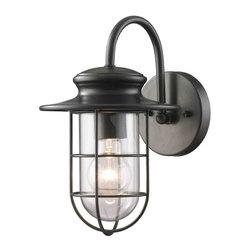 ELK Lighting - ELK Lighting 42284/1 Portside Matte Black Outdoor Wall Sconce - ELK Lighting 42284/1 Portside Matte Black Outdoor Wall Sconce