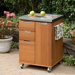 Home Styles - Home Styles Montego Bay Outdoor Patio Cart Multicolor - 5700-95 - Shop for Serving Carts from Hayneedle.com! The Home Styles Montego Bay Outdoor Patio Cart is the solution to your outdoor food prep serving and storage needs. It features a stainless steel top towel bars on each side two small storage drawers and one large storage drawer. Open the cabinet door to reveal a storage area with two adjustable shelves. Drawers and shelves are slotted to allow for proper drainage. Showcasing an island-inspired design in a eucalyptus finish it's constructed of eco-friendly plantation-grown Shorea wood which is known for its exceptional durability and natural resistance to water. About Home StylesHome Styles is a manufacturer and distributor of RTA (ready to assemble) furniture perfectly suited to today's lifestyles. Blending attractive design with modern functionality their furniture collections span many styles from timeless traditional to cutting-edge contemporary. The great difference between Home Styles and many other RTA furniture manufacturers is that Home Styles pieces feature hardwood construction and quality hardware that stand up to years of use. When shopping for convenient durable items for the home look to Home Styles. You'll appreciate the value.