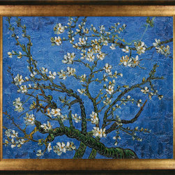 overstockArt.com - Van Gogh - Branches Of An Almond Tree In Blossom (Sapphire Blue) - Designed by Amit Yaari this is a hand painted oil interpretation of famous Van Gogh painting Branches of an Almond Tree in Blossom. The original masterpiece was created in 1890. Van Gogh created this painting as a gift for his newborn nephew. The way he made is brush strokes were fitting to the baby because he combined a sense of fragility and energy. A joyous and hopeful image for the child's future. Vincent Van Gogh's restless spirit and depressive mental state fired his artistic work with great joy and, sadly, equally great despair. Known as a prolific Post-Impressionist, he produced many paintings that were heavily biographical. This work of art has the same emotions and beauty as the original. Why not grace your home with this reproduced masterpiece? It is sure to bring many admirers!