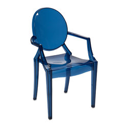Adamaris Blue Transparent Arm Chair - Featuring a modern and funky design concept, this trend-setting stylish chair incorporates a cutting edge blue transparent acrylic design that transitions well in a variety of dcor.