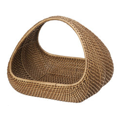 KOUBOO - Rattan Decorative Basket - This contemporary design of a classic basket with arched handle serves many purposes. Hand woven from rattan it holds magazine & newspapers, kid's or pet toys, fire logs, you name it. The elegant shape and refined execution make this a decorative piece in your family-, bed- or powder-room or your foyer.