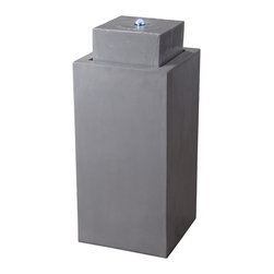 Kenroy - Kenroy 50012CON Northbrook Outdoor Floor Fountain - This squared monolith reaches new heights with its minimalist presentation and its smooth Concrete finish.  Glowing LED bulbs top this tower for a radiant appeal.