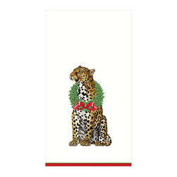 """Frontgate - Caspari Wild Christmas Guest Towels - Leopard with holly wreath design. Ideal as guest towels or buffet napkins. Look of cloth yet disposable. Each set contains 30 towels. Environmentally friendly biodegradable materials. The purrrfect guest towel for wildlife lovers! This stately leopard gracefully adorns a holly wreath to celebrate the holiday season. Each guest towel set contains 30 towels crafted of biodegradable, triple-ply tissue that is both ultra-absorbent and environmentally friendly. They have the look of cloth, yet can be tossed in the trash for quick and easy clean-up. Ideal accessory for buffet tables or guest baths.  .  .  .  .  . Crafted of soft and absorbent triple-ply tissue . FSC certified pulp and water based dye materials . Measures 13"""" x 16"""" open . Imported."""