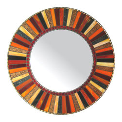 "Round Mosaic Mirror - Red, Orange, Black (Handmade), 30"" - MIRROR DESCRIPTION"