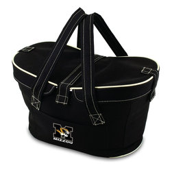 Picnic Time - University of Missouri Mercado Picnic Basket in Black - This Mercado Basket combines the fun and romance of a basket with the practicality of a lightweight canvas tote. It's made of polyester with water-resistant PEVA liner and has a fully removable lid for more versatility. Take it to the farmers market, the beach, or use it in the car for long trips. Carry food or sundries to and from home, or pack a lunch for you and your friends or family to share when you reach your destination. The Mercado is the perfect all-around soft-sided, insulated basket cooler to use when you want to transport a lunch or food items and look fashionable doing it.; College Name: University of Missouri; Mascot: Tigers/Mizzou; Decoration: Digital Print; Includes: 1 removable canvas lid