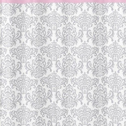 Sweet Jojo Designs - Elizabeth Pink and Gray Damask Shower Curtain by Sweet Jojo Designs - The Elizabeth Pink and Gray Damask Shower Curtain by Sweet Jojo Designs, along with the Elizabeth bedding accessories.