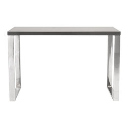 Eurø Style - Dillon Gray Lacquer/Polished Stainless Steel Desk - Let's get to work with this solid, functional, never-go-out-of-style Dillon Desk! With gray lacquer top, the desk sits firmly on chromed stainless steel base.