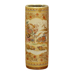 China Furniture and Arts - 23in Hand Painted Satsuma Design Umbrella Stand - Elaborately enameled, gilded, and hand painted in golden Satsuma style, the umbrella stand is transformed into a work of art. With elegant silhouette and graceful design, it is perfect to place in the foyer or living room. Imported.
