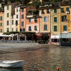 PrintedArt - Colorful Portofino - Print is made with archival pigment inks for best color saturation and contrast with a 75-year guarantee against fading or discoloring. Mounted on light-weight but rigid aluminum dibond board to create a float-on-the-wall piece of art. Also available face-mounted with acrylic.