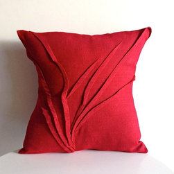 yorktown road - grass texture pillow, Red Rasberry - Linen colors are HAND DYED