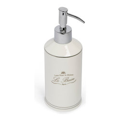 Kassatex - Le Bain Lotion Dispenser - Feel the smooth, silky touch of your skin with the help of this elegant lotion dispenser.  Made of porcelain with a platinum pump, you'll create a luxurious treat each time you press down for more. Go head, and indulge in that expensive French lotion.