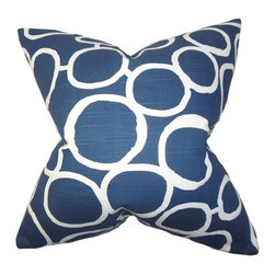 "The Pillow Collection - Franca Geometric Pillow Blue 20"" x 20"" - Transform your living space into a cozy haven by adding this accent pillow. Great for indoor use this throw pillow is perfect for your living room, bedroom or lounge area. This stylish home accessory features a geometric pattern is printed against a navy blue background. Crafted from 100% soft cotton material. Hidden zipper closure for easy cover removal.  Knife edge finish on all four sides.  Reversible pillow with the same fabric on the back side.  Spot cleaning suggested."