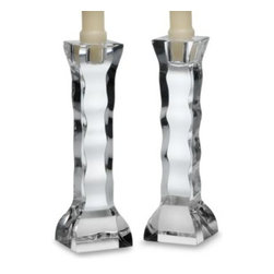 Orrefors - Orrefors Crystal Cruise Candlestick Pair - Candlelight always adds atmosphere to any gathering and these stunning crystal candlesticks bring extra elegance to the table. Tall with a sculpted wave-like silhouette, they become truly radiant when they catch the flicker of candlelight.