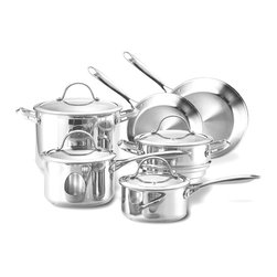 Cooks Standard - Cooks Standard Classic Stainless Steel 10-Piece Cookware Set - What's in the Box: 1-1/2-Quart covered saucepan; 3-Quart covered saucepan; 8-inch open skillet; 10-inch open skillet; 8-Quart covered stockpot; universal steamer insert include a cover. 1-1/2-Quart covered saucepan measures 14 by 7 by 4 inches. 3-Quart covered saucepan measures 14-1/2 by 8 by 5 inches. 8-inch open skillet measures 16 by 8-1/2 by 2-1/2 inches. 10-inch open skillet measures 18 by 11 by 3 inches. 8-Quart covered stockpot measures 14-1/2 by 10 by 8 inches. Universal steamer insert measures 12-1/2 by 8-1/2 by 6 inches.