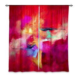 """DiaNoche Designs - Window Curtains Lined by Ruth Palmer Pink Abstract - Purchasing window curtains just got easier and better! Create a designer look to any of your living spaces with our decorative and unique """"Lined Window Curtains."""" Perfect for the living room, dining room or bedroom, these artistic curtains are an easy and inexpensive way to add color and style when decorating your home.  This is a woven poly material that filters outside light and creates a privacy barrier.  Each package includes two easy-to-hang, 3 inch diameter pole-pocket curtain panels.  The width listed is the total measurement of the two panels.  Curtain rod sold separately. Easy care, machine wash cold, tumble dry low, iron low if needed.  Printed in the USA."""