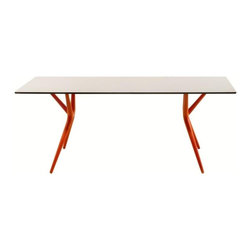 Kartell - Spoon Table, 56 in., Orange - Now you see it, now you don't. This folding table is great at disappearing acts — it folds up in an instant so you can store it easily when not in use. Extremely lightweight, the aluminum top is joined by thermoplastic legs that stand their ground. Perfect for small spaces, you can pull it out for parties or whenever extra tabletop space is needed.