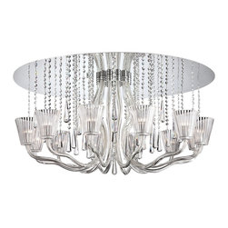 """Eurofase - Contemporary Corato Collection 39 1/4"""" Wide Clear Crystal Ceiling Light - Make a bold statement with this glamorous ceiling light that features a gleaming mirrored canopy. Hand-blown glass arms support clear crystal shades while strands of crystals fall elegantly and offer additional shine. Completely chic this stunning design adds a contemporary look. From the Corato Collection by Eurofase Lighting. Mirrored finish. Clear crystal shades. Hand-blown glass arms. Crystal strands. Includes twelve 40 watt G9 bulbs. Rated for damp locations. 39 1/4"""" wide. 20"""" high.   Mirrored finish.  Clear crystal shades.  Hand-blown glass arms.  Crystal strands.  Includes twelve 40 watt G9 bulbs.  Rated for damp locations.  39 1/4"""" wide.  20"""" high."""