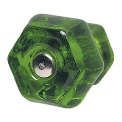 Renovators Supply - Cabinet Knobs Forest Green Glass 1-1/4'' Dia Cabinet Knob - Forest green glass cabinet knob has a chrome screw.  The head of the screw, as well as the head of the knob, is flat. 1-1/4 in. diameter knob.