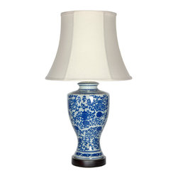 "Oriental Furniture - 28"" Victorian Design Porcelain Lamp - Classic oriental table lamp design perfect for traditional or contemporary living room, bedroom, or office decor. Striking trophy jar lamp body decorated with a traditional Ming blue and white vine and flower art motif. Fine ivory fabric bell shade configured as shown. UL approved wiring, socket, and switch. Reliable and long lasting."