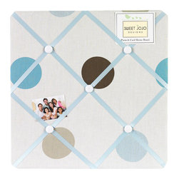 Sweet Jojo Designs - Blue & Chocolate Mod Dots Fabric Memo Board - The Blue & Chocolate Mod Dots Fabric Memo Board with button detail is a great way to display photos, notes, and postcards on your child's wall. Just slip your mementos behind the grosgrain ribbon to create an engaging piece of original wall art. This adorable memo board by Sweet Jojo Designs is the perfect accessory for the matching children's bedding set.The Blue & Chocolate Mod Dots Fabric Memo Board is 14in. x 14in. and comes with metal hangers on the back for easy hanging on the wall.