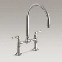 "KOHLER HiRise two-hole deck-mount bridge kitchen sink faucet with 10-1/4"" goosen"