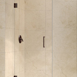 DreamLine - DreamLine SHDR-20277210F-06 Unidoor 27in Frameless Hinged Shower Door, Clear 3/8 - The Unidoor single swing door combines premium 3/8 in. thick tempered glass with a sleek frameless design for the look of a custom glass door at an amazing value. Top quality solid brass self-closing hinges install glass-to-wall to create the completely frameless design. Choose the clean lines of the Unidoor to give your bathroom renovation a polished upscale appeal. 27 in. W x 72 in. H ,  3/8 (10 mm) thick clear tempered glass,  Chrome, Brushed Nickel or Oil Rubbed Bronze hardware finish,  Frameless glass design,  Out-of-plumb installation adjustability: No,  Fully frameless glass hinged shower door design,  Self-closing solid brass wall mount hinges,  Precise width measurement of finished opening required,  Door opening: 26 in.,  Reversible for right or left door opening installation,  Material: Tempered Glass, Brass