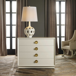"""Modern History - Modern History Home Mod Chest Ivory - This Modern History chest lends striking style. On a rectangular silhouette, four glide drawers showcase round brass pulls for a contemporary contrast to the furnishing's ivory hue. 40""""W x 20.5""""D x 33""""H; Venetian oak"""