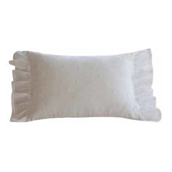 Taylor Linens - Daisy Dot White Boudoir Pillow - Dress up your boudoir with this dreamy, downy pillow. Fashioned from linen and festooned with garlands of embroidered flowers, this exquisite creation is filled with goose feathers and down and is trimmed with organdy ruffles for a fanciful flourish.