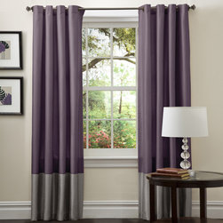 Lush Decor - Lush Decor Prima Grey/ Purple 84-inch Curtain Panels (Set of 2) - Add a subtle pop of color to your living room with these purple curtain panels from Lush Decor. This set of two panels is 84 inches long and made of patterned faux silk. With rod-pocket construction,these curtains feature trendy gray color blocking.