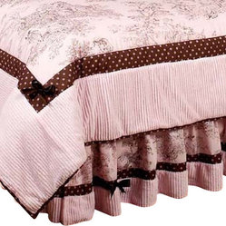 Pink & Brown Toile Queen Bedskirt