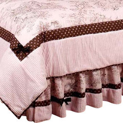 Sweet Jojo Designs - Pink & Brown Toile Queen Bedskirt - The Pink and Brown French Toile and Polka Dot Full/Queen Bed Skirt by Sweet Jojo Designs helps complete the look of your room. This skirt, or dust ruffle, adds the finishing touch while conveniently hiding under-the-bed storage.