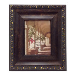 Lawrence Frames - Venice Bronze 4x5 Picture Frame, Bronze, 4 X 5 - A classic wide profile oil rubbed bronze finish picture frame with delicate antique gold carving around the outside edge.  This composite frame has a rich and lustrous bronze finish.  High quality black velvet backing with an easel for vertical or horizontal table top display, and hangers for vertical or horizontal wall mounting.    Heavy weight composite picture frame is made with exceptional workmanship and comes individually boxed.