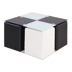 Global Furniture - Square Glass Coffee Table in Black & White with PVC Stools - -