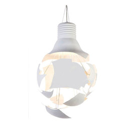 IMPORT LIGHTING & FUNITURE - Scheisse pendant lamp - Scheisse is a large pendant lamp shaped like a broken bulb. Scheisse creates a distinct shadow and looks like a sculpture in its environment. Scheisse is a blend of art, an experiment with light and shadow.
