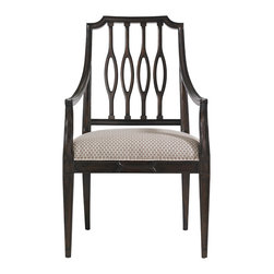 Stanley Furniture - Charleston Regency Cooper Dining Arm Chair - Classic Mahogany Finish - The elliptical silhouette of the Cooper Dining Arm Chair�۪s pierced back splat is at home in transitional and traditional environs alike. Made to order in America.