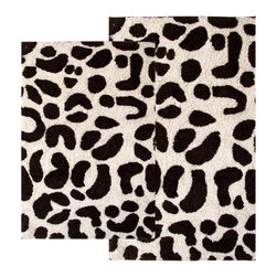 "Chesapeake Merchandising - 2 Piece Leopard Bath Rug Set in Chocolate & Ivory - This Animal Print Bath Rug Set adds a distinct fashion to your bathroom.  It is 100% plush cotton.   The bath rug set includes a 21""x34"" and 24""x40"" bath rug.  Machine Tufted with anti skid spray latex back. Dimensions: 21""W X 34""L and 24""W X 40""L; Color: Chocolate, Ivory; Material:  Cotton; Shape: Rectangular; Construction: Machine Tufted and Powerloom"