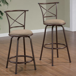 "Coaster - 24""Counter Height Stool in Brown, Set of 2 - X back style metal barstools in brown finish with brown microfiber seating. Available in 24"" counter height or 29"" bar height.; Casual Style; Finish: Brown; Fabric Color: Brown; No assembly required.; Dimensions: 22""L x 20.5""W x 38""H"