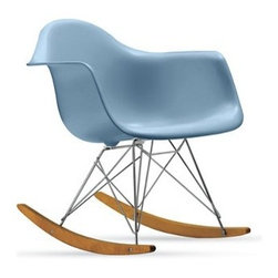 Eames Molded Plastic Rocker - The Eames Molded Plastic Rocker (1948), often known as the RAR (rocker height, armchair shell, rocking base), was out of production for 30 years before it was brought back with the blessings of the Eames Office. Set atop what's commonly referred to as the Eames Eiffel base, this Rocker has maple runners for a smooth rocking motion. This original is an authentic, fully licensed product of Herman Miller, Inc. Eames is a licensed trademark of Herman Miller, Inc. Made in U.S.A Molded shell seat has a high, flexible back and a deep seat pocket. The waterfall seat edge keeps you comfortable for extended periods of time by reducing pressure on the backs of thighs. The colors Wafer and Aqua Sky were inspired by the Eameses' original color palette. Originally made with fiberglass-reinforced plastic, these chairs are now composed of more eco-friendly polypropylene. Contract quality.