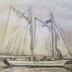 Govenor Stone Schooner (Original) by Marvin Tweedy - This schooner is one of the type that was very common along the Florida coast.  It was an important type of cargo vessel used in many of the local coastal waters.  This particular schooner in registered as an historic vessel. It is the last ones still around!!  My drawing is a bit of Currier and Ives turned on boats.  Drawing is done with black and white charcoal and pencil like most of my drawings.  I like all of the tones you can get that way.  Enjoy a bit of Florida History.