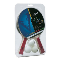 Great-Viper - Two Racket Table Tennis Set - Includes 2 rackets and 3 balls. Blade: 5 ply. Sponge 1.5mm. Flared handle. Rubber inverted. 5 for Spin, 5 for speed, 7 for control ranking. 90 days WarrantyThis Two Racket Table Tennis Set includes 2 quality rackets and 3 table tennis balls. The rackets are 5 ply with 1mm sponge and boast a performance ranking of 5 for spin, 5 for speed, and 7 for control.