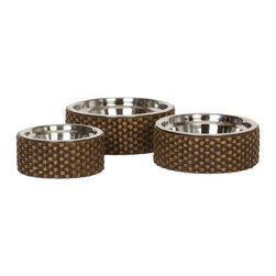 Unleashed Life - Capri - Large  Feeder - The look of hand woven rattan and the warm brown finish makes the Capri dog bowl Collection perfect for any d_cor from coastal to lodge homes.