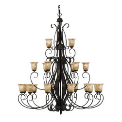 Kichler Lighting - Kichler High Country Chandelier - 62W in. Old Iron Multicolor - 2114OI - Shop for Chandeliers from Hayneedle.com! Make an unforgettable first impression to your home with the breathtaking Kichler High Country Chandelier gracing the foyer or great room. The entire High Country series achieves a look that is at once masculine and delicate with a rustic Old Iron finish and beautiful curves of hand-formed steel bowed outward from the center. On this piece elaborate metal swirls extend into three separate tiers which feature a total of 21 lights and are completed by romantic lampshades of umbered alabaster glass. This impressive chandelier is affixed to your ceiling by 108 inches of hanging chain and 36 inches of extra supply wire both of which come with your purchase. It weighs 152 pounds and requires 21 100-watt candelabra bulbs not included.About KichlerSince 1938 Cleveland-based Kichler Lighting has been known for their innovative designs and excellent craftsmanship. Kichler is the world's leading decorative lighting fixture company and the winner of four ARTS Lighting Manufacturer of the Year awards. Kichler designers travel the world to discover the latest trends in exterior and interior style colors and designs. Then they translate the best of those trends into fixtures that will bring beauty pleasure and light into your home. Kichler fixtures stand the test of time and are functional works of art that you're sure to treasure.