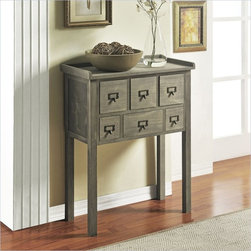 Altra Furniture 6 drawer Accent Console Table in Gray Finish - This 6 drawer Accent table is perfect for entry ways or hallways. With the little drawers you can store your knick knacks and stay clutter free.